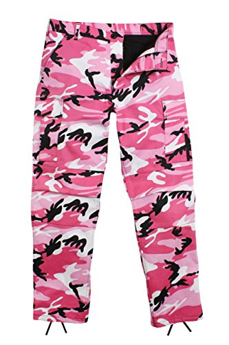 Camouflage Military BDU Pants, Army Cargo Fatigues (Pink Camouflage, Size Medium)