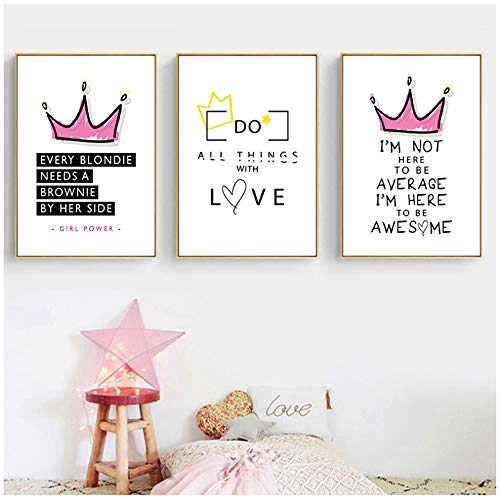 Cuadro en lienzo Modern Sweet Fashion Queen Crown Frase en inglés Poster Wall Art Print Nordic Kids Home Decor Pictures 19.6'x 27.5' (50x70cm) x3 Sin marco