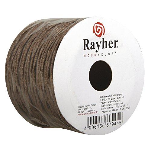 Rayher 5116005 Papierkordel mit Draht, 2 mm, Rolle 25 m, d.braun