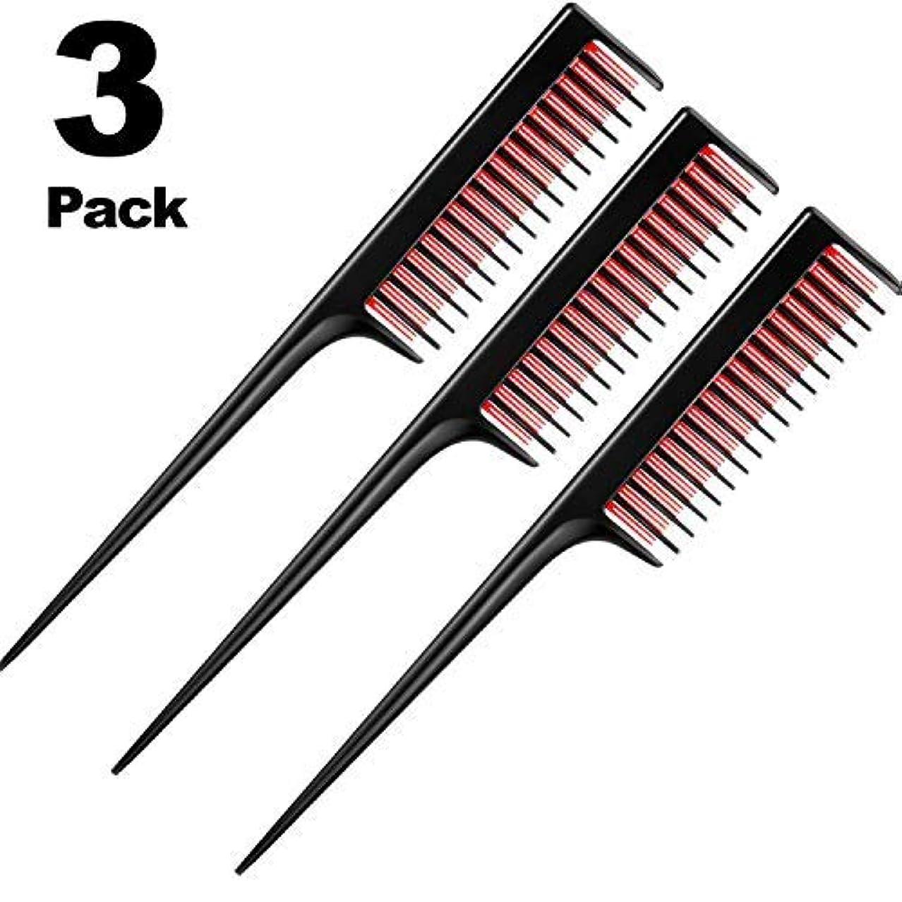 敬意を表して面倒支援3 Piece Triple Teasing Comb, rat tail combs for women,Tool Structure Tease Layers Rattail Comb,Rat Tail Comb for Back Combing Root Teasing, Adding Volume, Evening Styling [並行輸入品]