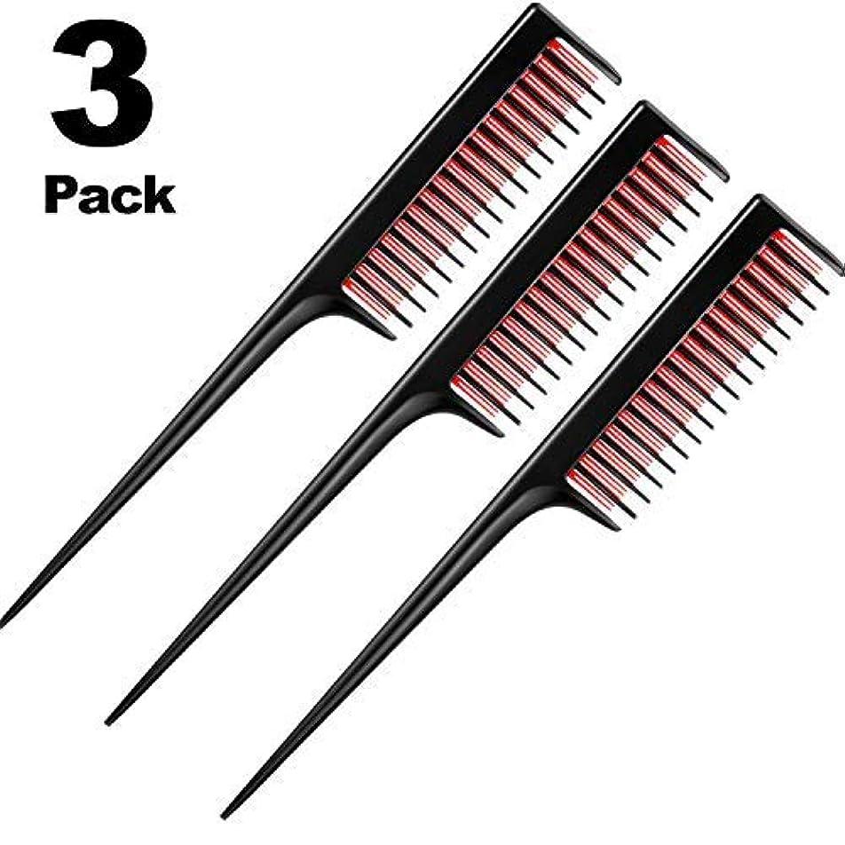 剛性賞賛ありふれた3 Piece Triple Teasing Comb, rat tail combs for women,Tool Structure Tease Layers Rattail Comb,Rat Tail Comb for Back Combing Root Teasing, Adding Volume, Evening Styling [並行輸入品]