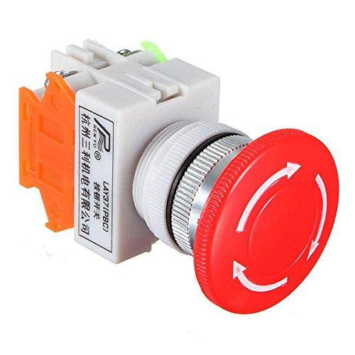 MINGMIN-DZ Duradero Parada de Emergencia Interruptor 10pcs N/O N/C de Parada de Emergencia botón de Interruptor pulsador Terminales Mushroom 4 de Tornillo Fácil de Montar