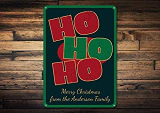 1pcs Ho Ho Ho! Sign, Personalized Merry Christmas Sign, Family Name Sign, Custom Metal Holiday Decor, Holiday Sign - Novelty Aluminum Santa Signs (12 x 18 Inches)
