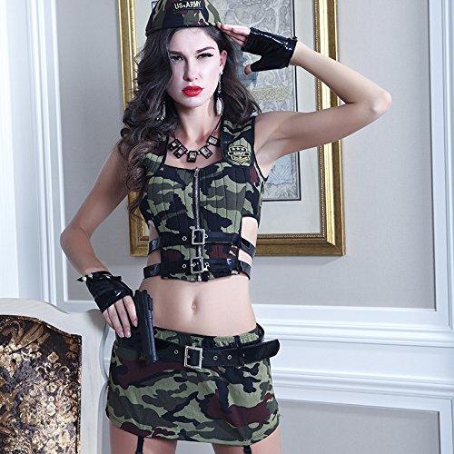 ZHANGSL Sexy Kleid, sexy Perspektive Tarnanzüge Tarnung militärischen Strapazen Cosplay Rollenspiele sexy Dessous,Foto Color,Einheitsgröße