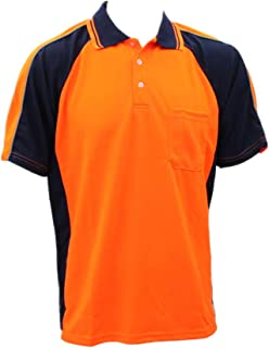 Fresh Idea Living Hi-Vis Safety Polo Workwear Short Sleeve Shirt Top w/Chest Pocket Two Tone