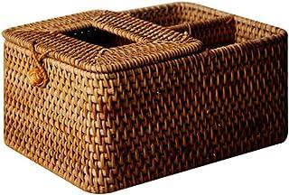 Rack Ratt Rattan Tissue Box Handmade Desktop Tissue Container Serwetki Przechowywanie Case Prostokątne Kosmetyczne Tissue ...