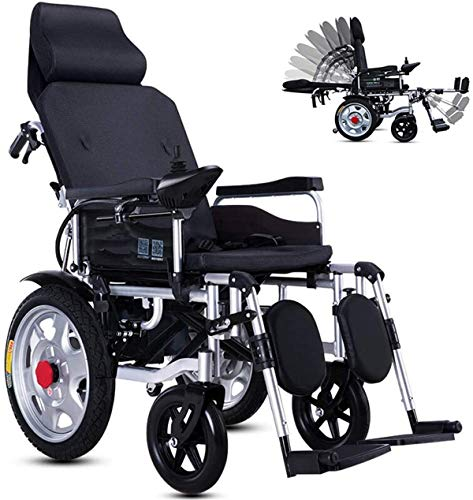 Mobility Aid Wheel Chair, Electric Wheelchairs,Lightweight Folding Electric Wheelchair for Elderly Fully Lying Adjustable Automatic Power Chair Aluminum Alloy 4-Wheeled Scooter Lithium Battery,Black,2