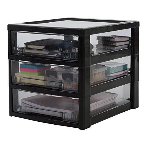 IRIS, Schubladenbox / Tischschubladenbox / Bürobox 'Super Clear Chest', SCC-300, Aufbewahrung für Schreibtisch, Kunststoff, schwarz / transparent