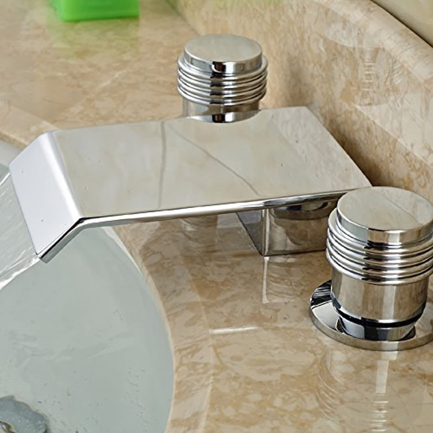 U-Enjoy Deck Mount Waterfall Top Quality Brass Spout Bathroom Widespread Sink Faucet Double Handles with Hot Cold Water (Free Shipping)