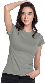 Bewakoof Women's Cotton Solid Bold Half Sleeves | Round Neck | Regular Fit T-Shirt/Tee