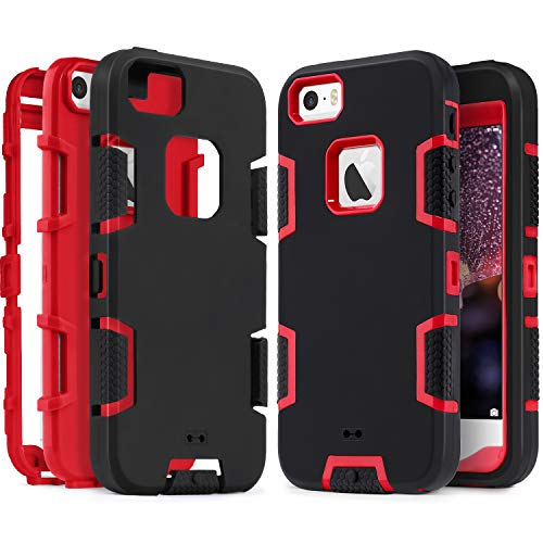 IDweel iPhone SE Case, iPhone 5S Case,iPhone 5 Case, Heavy Duty Protection Shockproof Sport Rugged Drop Resistant Dustproof Anti-Scratch Anti-Slip Protective Cover for Apple iPhone 5 5S SE, Red+Black