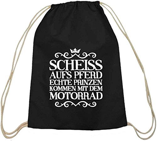 Shirtstreet24, Scheiss aufs Pferd, Motorrad Bike Baumwoll natur Turnbeutel Rucksack Sport Beutel, Größe: onesize,schwarz natur
