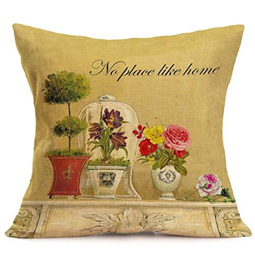 2pcs LCZMQRCLMZRQ Fashion home puur katoen linnen gegooid bloem kussensloop taille kussen kussensloop, M