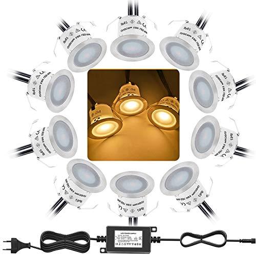 Bojim 10er Set LED Einbaustrahler, IP67 Wasserdicht, Warmweißer Ø33mm Led Bodeneinbaustrahler Aussen Terrassen Einbaustrahler Terrassenbeleuchtung für Küche Garten Treppen Holzdeck Außenleuchten