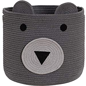 VK Living Cotton Rope Bear Animal Basket Foldable Large Woven Storage Basket Baby Nursery Cute Laundry Hamper for Toys,Blanket,Clothes in Bedroom Living Room Large Size 15x15x18 Grey
