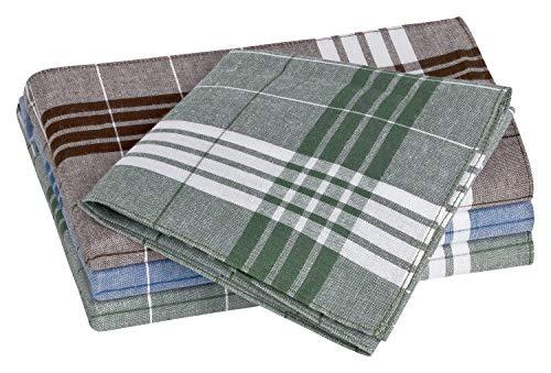 Tobeni 12 Herren-Taschentücher Stoff für die Arbeit Arabias Stofftaschentücher 100% Baumwolle Blau Braun Grün 40 x 40 cm