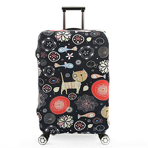Travel Luggage Cover Suitcase Protector Elastic Trolley Case Protective Cover Fits L:26-28 inch (Black cat)