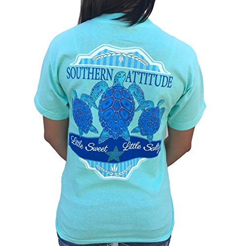 Southern Attitude 3 Turtles Sea Foam Green Preppy Short Sleeve Shirt (X-Large)