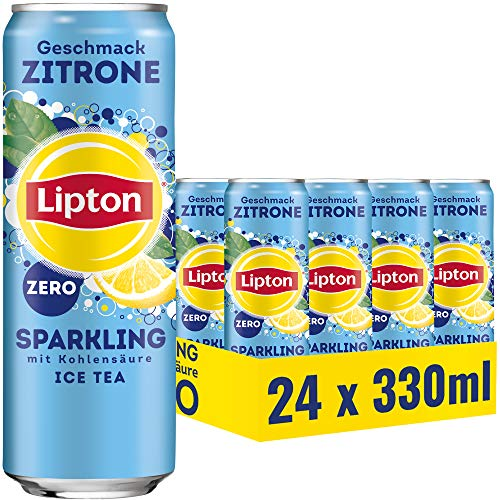LIPTON ICE TEA Sparkling Zero, Kohlensäurehaltiger Eistee mit Zitronen Geschmack ohne Zucker (24 x 0.33l)