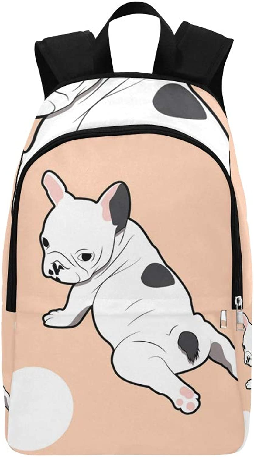 French Bulldog Yoga Look Back Casual Daypack Travel Bag College School Backpack for Mens and Women