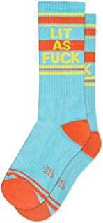 Lit as Fck Ribbed Unisex Gym Socks in Blue, Orange and Yellow