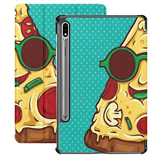 Galaxy Tablet S7 Plus 12.4 Inch Case 2020 con S Pen Holder, Pizza Geek Mascot Illustration Vector Slim Stand Funda Protectora en Folio para Samsung