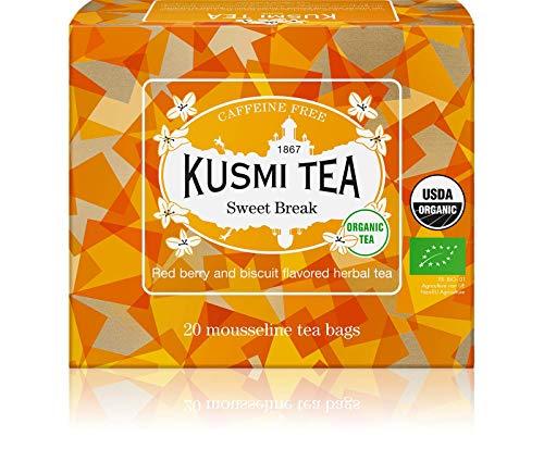 Kusmi Tea Sweet Break Bio - Beutel Tee mit Hibiskus, Kräutern und Früchten - Rote Früchte und Biskuit Geschmack - Koffeinfreier Kräutertee - Box mit 20 Musselin Teebeuteln