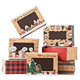 TOMNK 18 Pieces Christmas Cookie Boxes Kraft Baking Box with Window for Cupcakes, Candy, Holiday Bakery Treat and Party Favor 8.3 x 5.9 x3.7 Inches