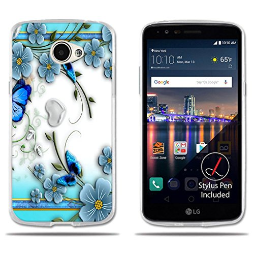 fubaoda LG K5/Q6/X220ds Hülle, [Kleine lila Schmetterling Blumen] e Silikon Clear TPU Kreatives Anti-Scratch Smart Schutz Stilvolle Silikon Slim Fit Shockproof Flexible Protector für LG K5/Q6/X220ds