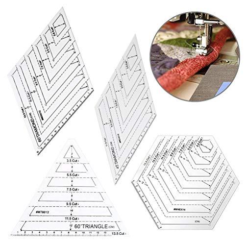 Regla de acolchado, 4 piezas Regla de acrílico Patchwork Tailor Craft Quilting Ruil Quilters Craft Patchwork Handmade Drawing DIY Coser Tool, Plantillas de edredones Stencil Ruler Triangles Hexagon