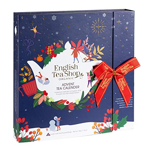 English Tea Shop Book Style Christmas Night Advent Calendar | 25 Pyramid Tea Bags | 50g