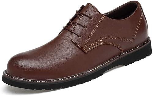 Ruiyue La Mode des Hommes Oxford Décontracté Chaussures à Bout Rond Classique de Couleur Unie Formelle Hommes (Couleur   Marron, Taille   40 EU)