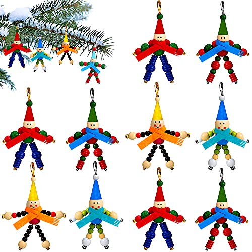 12 Pieces Christmas Bead Crafts Bead Elves Ornaments for Kids Christmas Beaded Ornaments Christmas Tree Decorations Christmas DIY Crafts for Christmas Garland Holiday Decorations Party Supplies