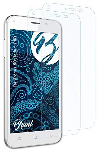 Bruni Schutzfolie kompatibel mit Archos 50 Helium Plus Folie, glasklare Bildschirmschutzfolie (2X)