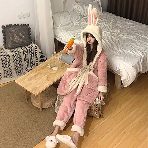 Ycxydr Schlafanzug Lockere Flauschige Kaninchen Ohren mit Kapuze Trainingsanzug Stück Größe PJs Sets (Color : Pink)