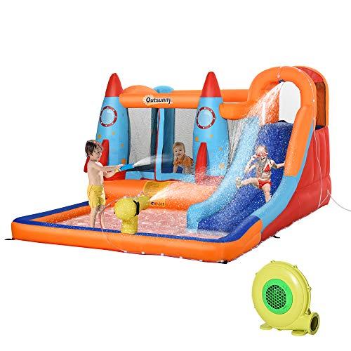 Outsunny Castello Gonfiabile per Bambini Piscina con Scivolo e Trampolino, Pompa Elettrica, 370x270x185cm, Multicolore