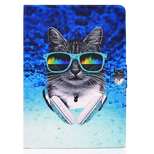 JCTek Leather Case for New iPad Air 4th Generation 10.9 Inch 2020, Flip Folio Stand Cover Slim Case with Multiple Angle and Cards Holder (Headphone cat)