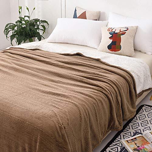 XUMINGLSJ Mantas para Sofás de Franela- Manta para Cama Reversible de 100% Microfibre Extra Suave -marrón_El 180 * 200cm