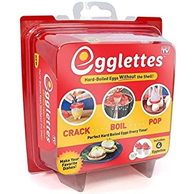 Egglettes Egg cooker Cook Hard and Soft Maker, No Shell, Non Stick Silicone, Poacher, Boiled, Steamer, AS Seen on TV