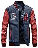 QitunC Hombres Cuero De La PU Chaqueta De Béisbol Impresión Fleece Forrado Cazadora Abrigo Azul Zafiro S