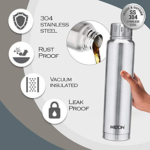 Milton Elfin 750 Thermosteel 24 Hours Hot and Cold Water Bottle, 750 ml, Silver, 1 Piece