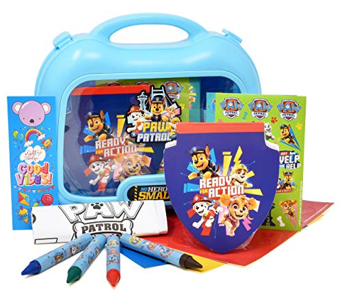 Paw Patrol Coloring and Activity Carry Case, Includes Jumbo Crayons, Stickers, Mess Free Crafts, Doodle Pad, Gift Boutique Bookmark, Reuse Me Stickers, for Toddlers, Boys and Kids