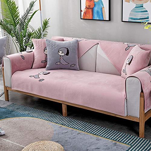 KENEL Protector para Sofás, Cubierta de sofá sin Deslizamiento de sofá sin Deslizamiento Cubierta de sofá Cubierta de Tela para Mascotas para niños niños Perro Gato-Rosa_90 * 70 cm