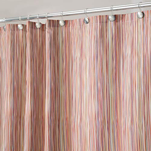 "mDesign Modern Sketched Line Print - Easy Care Fabric Shower Curtain with Reinforced Buttonholes, for Bathroom Showers, Stalls and Bathtubs, Machine Washable - 72"" x 72"" - Earthtone/Peach"