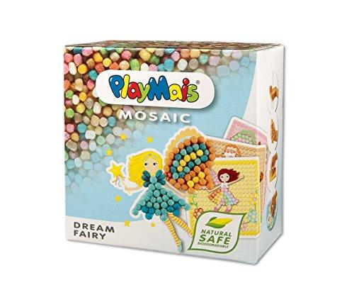 PlayMais Mosaic Dream Fairy Kreativ-Set zum Basteln für Kinder ab 5 Jahren | Über 2.300 Stück & 6 Mosaik Klebebilder mit Feen & Elfen | Fördert Kreativität & Feinmotorik | Natürliches Spielzeug