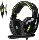 Auriculares FHW Juego, Juegos de Ordenador en Vivo Esports 3.5mm for Cable de micrófono estéreo Bass for PS4 Xbox One PC (Negro-Verde)