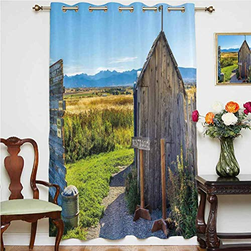 Outhouse Window Curtain Old Rustic Wooden Cottage Barn Shed in a Farm Village Image Grommets Panels Printed Curtains ,Single Panel 63x84 inch,for Glass Door Dark Grey Green and Sky Blue