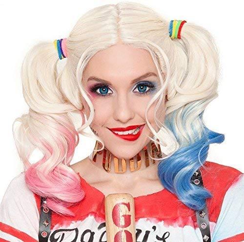 Perücke für Harley Quinn Mädchen Kinder Selbstmord Squad Rosa und Blau Mit Zwei Pferdeschwänzen für Frauen Damen Mädchen Kostümparty Karneval Cosplay Perücken 061A