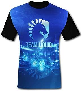 Mens T Shirt Team Liq-Uid O-Neck Short Sleeve Graphics Tees