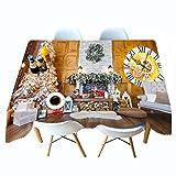 Shadow Cubierta de Mesa a Prueba de Polvo Navidad Mantel Impreso en 3D cabaña Mantel de Personalidad de Navidad Mantel de Personalidad Colgante de Tela 134x183cm